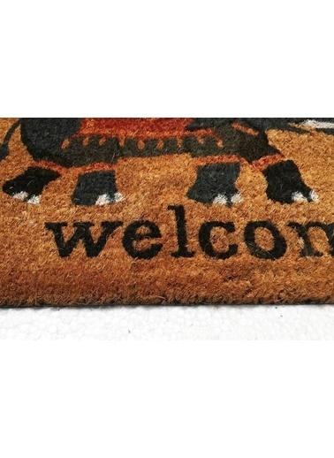 Giz Home Koko Kapı Paspası 35X60 Cm Gri Welcome Fil Gri
